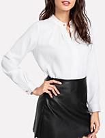 Недорогие -Жен. Повседневные / Офис Рубашка V-образный вырез Однотонный