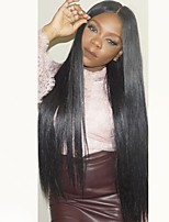 Недорогие -Не подвергавшиеся окрашиванию Парик Бразильские волосы Прямой Стрижка каскад 130% плотность С детскими волосами Природные волосы Черный