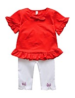 Недорогие -Дети Дети (1-4 лет) Девочки Однотонный С короткими рукавами Набор одежды