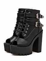 cheap -Women's Shoes PU(Polyurethane) Summer Gladiator Boots Chunky Heel Peep Toe Booties / Ankle Boots Black / Party & Evening