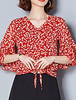 Недорогие -Жен. Блуза V-образный вырез Цветочный принт