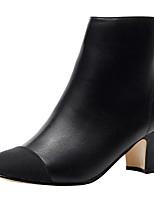 Недорогие -Жен. Обувь Искусственное волокно / Дерматин Весна лето Модная обувь Ботинки На толстом каблуке Черный / Миндальный