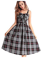 cheap -TS - Dreamy Land Women's Sheath Dress - Color Block / Check High Waist Strap