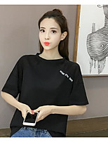 cheap -Women's Cotton T-shirt - Letter / Cotton / Letter