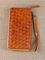 Недорогие -Жен. Мешки Настоящая кожа Бумажники Молнии Коричневый / Темно-коричневый