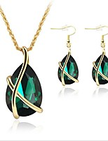 cheap -Women's Jewelry Set - Gold Plated Simple, Fashion Include Pendant Necklace / Chain Necklace / Bridal Jewelry Sets Green For Wedding / Office & Career / Y Necklace