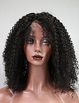 Недорогие -Remy Лента спереди Парик Бразильские волосы / Кудрявый Кудрявые Кудрявый 150% плотность Короткие Жен. Парики из натуральных волос на