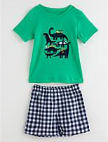 Недорогие -Дети (1-4 лет) Мальчики Однотонный Шахматка С короткими рукавами Набор одежды