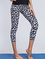 cheap -BARBOK Women's Yoga Pants - Black / White Sports Reactive Print Tights Running, Fitness, Gym Activewear Lightweight, Quick Dry, Breathable Stretchy