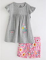 cheap -Toddler Girls' Solid Colored Floral Short Sleeves Clothing Set