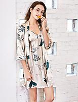 abordables -V Profond Satin & Soie Pyjamas Femme Géométrique