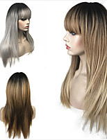 cheap -Synthetic Wig Straight Bob Haircut Synthetic Hair 100% kanekalon hair Golden / Light Brown Wig Women's Long Natural Wigs / Celebrity Wig