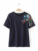 cheap -Women's Basic T-shirt - Floral Blue & White