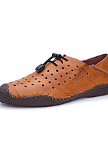 cheap -Men's Shoes Nappa Leather / Cowhide Summer Comfort Loafers & Slip-Ons Cycling Shoes / Walking Shoes Black / Light Brown / Dark Brown