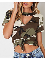 cheap -Women's Vintage Puff Sleeve Cotton T-shirt - Camouflage Black & White, Tassel
