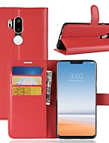 Недорогие -Кейс для Назначение LG K10 2018 / G7 Кошелек / Бумажник для карт / Флип Чехол Однотонный Твердый Кожа PU для LG X venture / LG V30 / LG