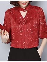 baratos -Mulheres Blusa Vintage Pregueado, Sólido Preto e Vermelho