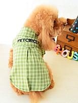 baratos -Cachorros Gatos Animais de Estimação Camisetas Roupas para Cães Listrado Simples Frases e Citações Amarelo Verde Algodão / Poliéster