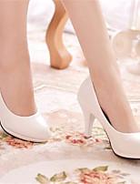 abordables -Femme Chaussures Cuir Verni Printemps été Escarpin Basique Chaussures à Talons Talon Aiguille Bout rond Blanc / Noir / Rouge