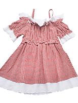 cheap -Kids Girls' Plaid Half Sleeve Dress