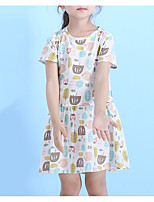cheap -Kids Girls' Geometric / Color Block Short Sleeve Dress