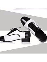 cheap -Men's Latin Shoes Cowhide Oxford Performance Practice Chunky Heel Black-white