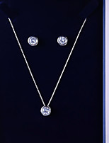 cheap -Women's Cubic Zirconia Jewelry Set - Simple, Fashion Include Drop Earrings / Pendant Necklace White For Wedding / Daily