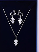 cheap -Women's Cubic Zirconia Jewelry Set - Leaf Korean, Fashion Include Drop Earrings / Pendant Necklace White For Wedding / Birthday