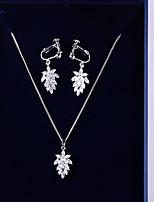 preiswerte -Damen Kubikzirkonia Schmuck-Set - Blattform Koreanisch, Modisch Einschließen Tropfen-Ohrringe / Anhängerketten Weiß Für Hochzeit / Geburtstag
