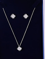 cheap -Women's Cubic Zirconia Jewelry Set - Leaf, Clover Korean, Fashion Include Drop Earrings / Pendant Necklace White For Wedding / Gift