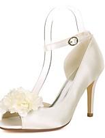 abordables -Femme Chaussures Satin Printemps été Escarpin Basique Chaussures de mariage Talon Aiguille Bout ouvert Fleur en Satin Rouge / Champagne /