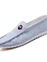 cheap -Men's Shoes Linen Summer Moccasin Comfort Loafers & Slip-Ons for Office & Career Outdoor Black Gray Blue