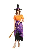 cheap -Witch Outfits Unisex Halloween / Day of the Dead / Masquerade Festival / Holiday Halloween Costumes Orange Solid Colored / Halloween