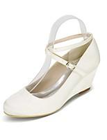 abordables -Femme Chaussures Satin Printemps été Escarpin Basique Chaussures de mariage Hauteur de semelle compensée Bout rond Boucle Bleu /