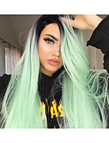 Недорогие -Синтетические кружевные передние парики Прямой Средняя часть 150% Человека Плотность волос Искусственные волосы Женский / синтетический /