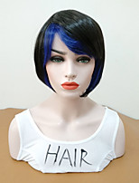 cheap -Synthetic Wig Straight Side Part Bob Haircut Highlighted / Balayage Hair Women Blue Women's Capless Celebrity Wig Mid Length Synthetic
