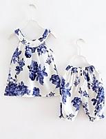 preiswerte -Kinder Baby Mädchen Blumen Ärmellos Kurzarm Kleidungs Set
