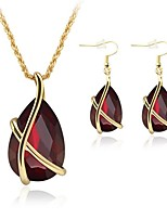 cheap -Women's Jewelry Set - Gold Plated Simple, Fashion Include Pendant Necklace / Chain Necklace / Bridal Jewelry Sets Red For Wedding / Daily / Y Necklace