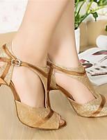 cheap -Women's Latin Shoes Paillette Heel Performance Practice Stiletto Heel Gold