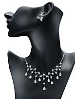 preiswerte -Damen Kubikzirkonia Schmuck-Set - Tropfen Modisch, Elegant Einschließen Tropfen-Ohrringe / Anhängerketten Weiß Für Hochzeit / Verlobung