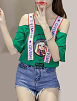 cheap -Women's T-shirt - Solid Colored / Portrait Strap / Off Shoulder