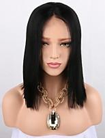 Недорогие -Синтетические кружевные передние парики Прямой Стрижка боб 150% Человека Плотность волос Искусственные волосы Парик в афро-американском