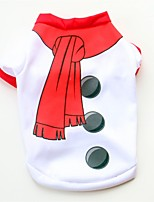 abordables -Chiens / Chats / Animaux de Compagnie Gilet Vêtements pour Chien Couleur Pleine / simple / Noël Blanc Coton Costume Pour les animaux