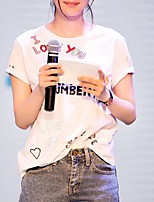 abordables -Tee-shirt Femme, Couleur Pleine / Géométrique / Lettre - Coton / Coton / Géométrique / Lettre