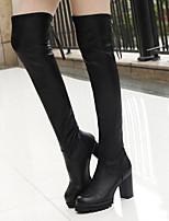 baratos -Mulheres Sapatos Couro Ecológico Inverno Botas de Montaria Botas Salto Robusto Botas Acima do Joelho para Casual Preto