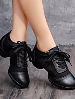 cheap -Women's Dance Sneakers Tulle / Cowhide Sneaker Low Heel Dance Shoes White / Black / Performance / Practice