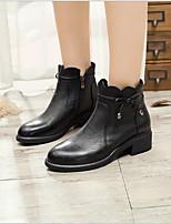 Недорогие -Жен. Обувь Наппа Leather Наступила зима Удобная обувь Ботинки На толстом каблуке Черный