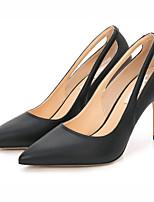 abordables -Femme Chaussures Polyuréthane Printemps été Escarpin Basique Chaussures à Talons Talon Aiguille Bout pointu Blanc / Noir