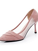 cheap -Women's Shoes Flocking / Tulle Summer Novelty Heels Kitten Heel Pointed Toe Black / Pink / Party & Evening