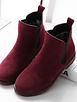 cheap -Women's Shoes Cowhide Fall & Winter Comfort Boots Flat Heel Booties / Ankle Boots Black / Khaki / Burgundy